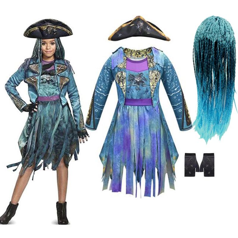 Nachkommen 3 Mal Bertha Maleficent Locken Live Evil Gerade Blau Kinder Mädchen Cosplay Kappe Kleid Halloween Kostüm Für Kinder Perücke