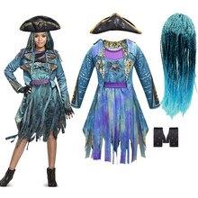 Descendentes 3 mal bertha maleficent cachos viver mal em linha reta azul crianças meninas cosplay boné vestido de halloween traje para crianças peruca