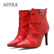 Ankle Boots For Women High Heels Female Shoes Brand Buckle Strap Zip Pointed Toe Women Fashion Boots Casual Shoes 2019 New Arriv
