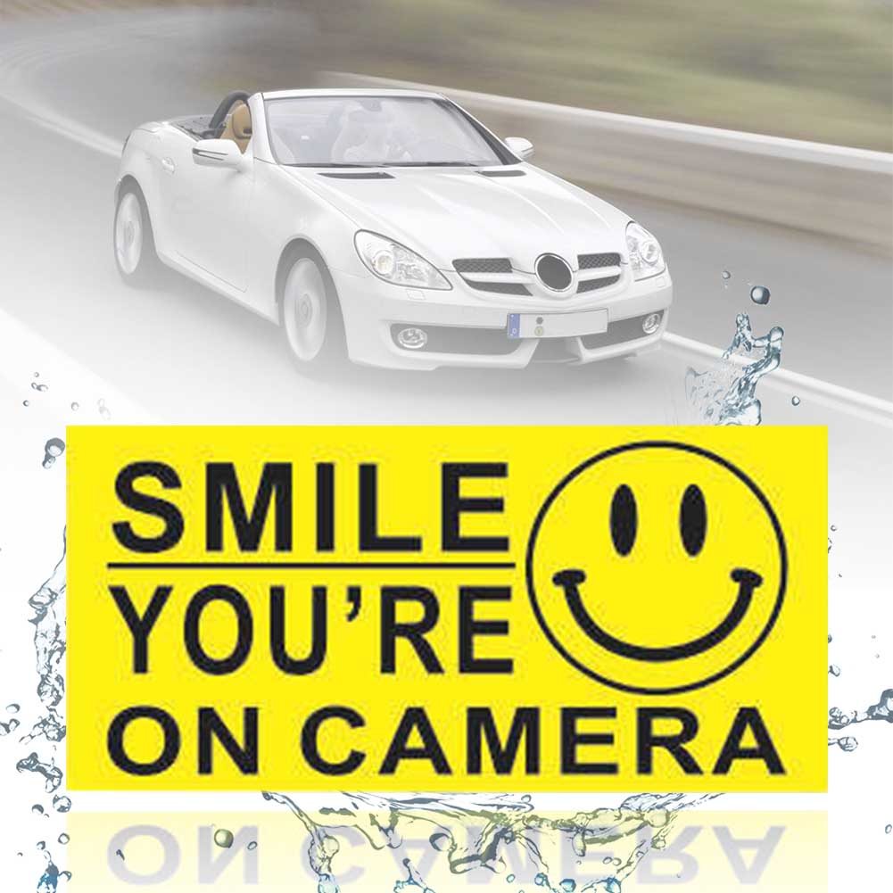 4Pcs PVC Waterproof Security Sign Self Adhesive Car Accessories CCTV Warning Sticker Home You Are On Camera Smile Face Business