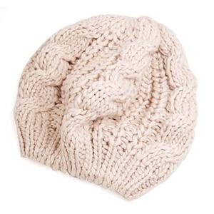 Зимний женский теплый вязаный берет плетеная Лыжная Шапка мешковатая шапочка вязаная шапка (бежевый)