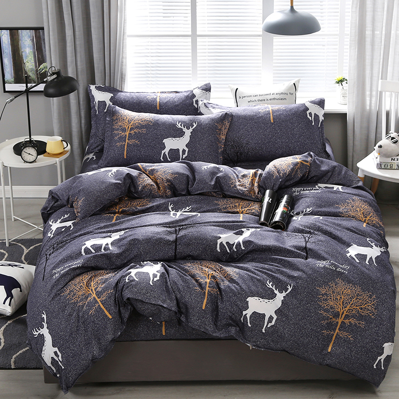 Deer Print Bed Sheets | Printed Dark Grey Comforter Set
