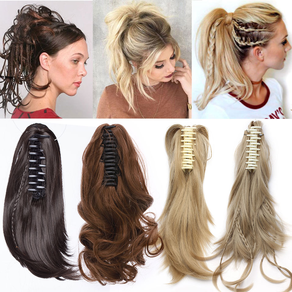 S-noilite 4 Types Claw Clip On Ponytail Hair Extension Synthetic Tail Hair Black Brown Blonde Ponytail Hair Hairpiece For Women