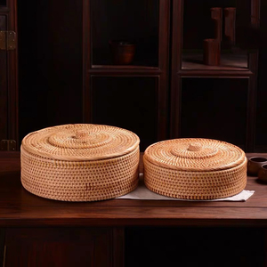Image 4 - Hand woven Basket Primary Colours Simple retro Rattan Storage Boxes with lids Jewelry Tea set Storage Boxes Household items