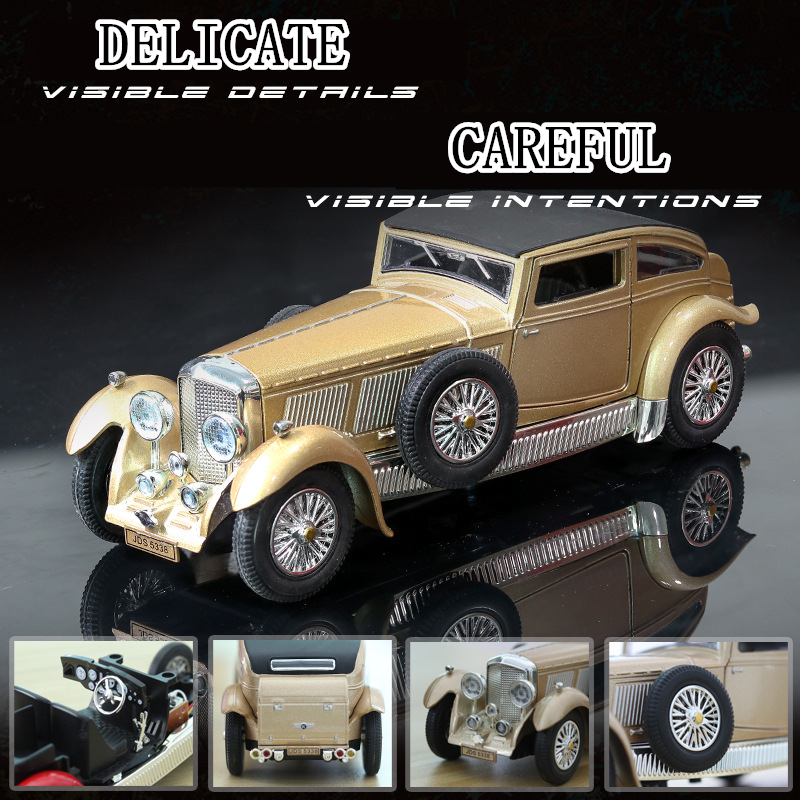 1 28 Classic car model Bentley 8L antique sound and light ornaments re collection gift pull back vehicle in Diecasts Toy Vehicles from Toys Hobbies