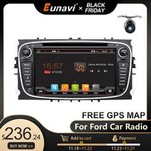 Eunavi 2 Din Android samochodowy odtwarzacz multimedialny GPS dla FORD Focus 2 II Mondeo S MAX C MAX Galaxy 2Din 4G 64GB ekran dotykowy IPS
