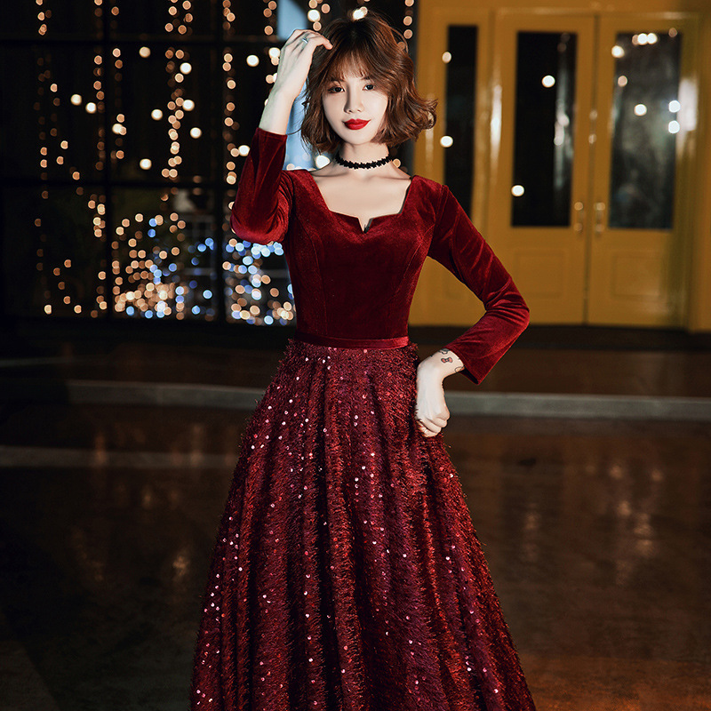2019 Real High Toast Bride 2020 New Long Sleeve Wine Wedding Autumn And Winter Velvet Evening Dress Engagement Back To The Door