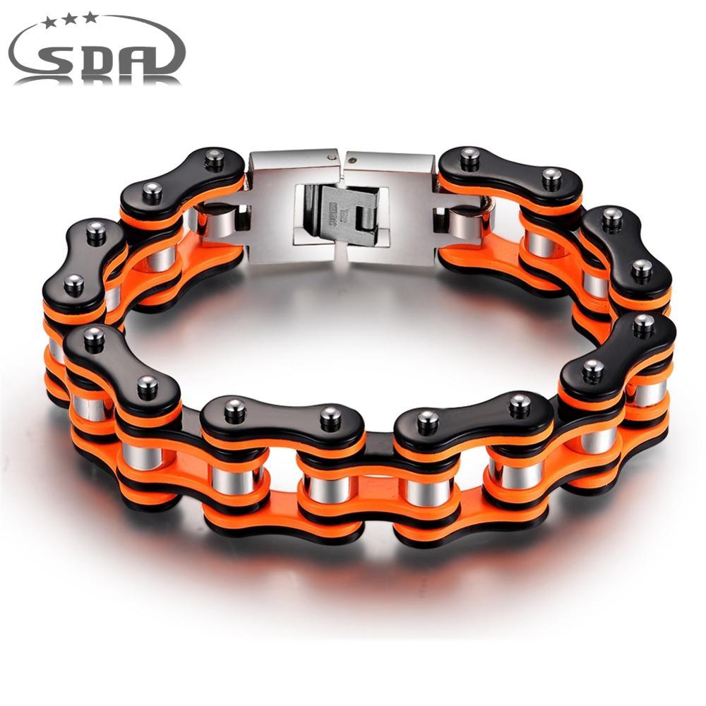 Hot Sale Orange Black Motorcycle Chain Bracelet Top Quality 316L Stainless Steel Men's Bracelets 16mm Width SDA Jewelry YM079