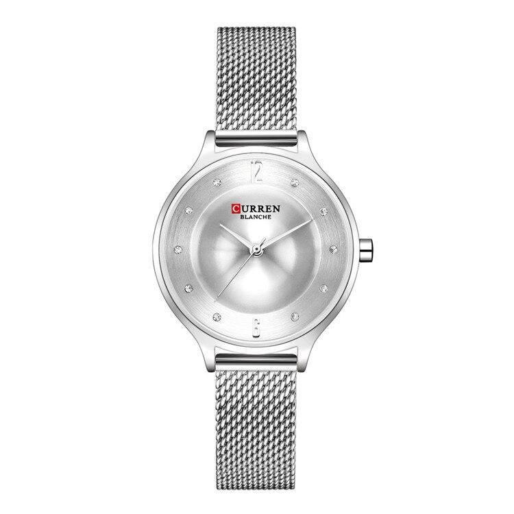 Women Watches Relojes Para Mujer CURREN Fashion Brand Luxury Quartz Casual Ladies Watch Silver Stainless Steel Mesh Female Clock|Women's Watches| |  - title=