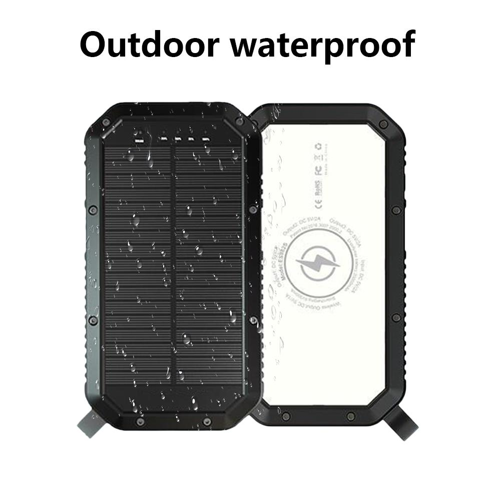 5V 20000 MAh Solar Charging Mobile Power Camping Light Outdoor Waterproof IP65 21/36 LED Camping Lamp Wireless Charging