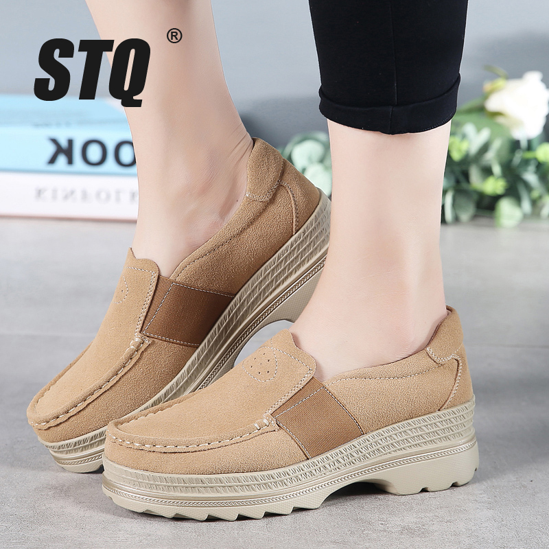 STQ 2020 Autumn Women Platform Sneakers Shoes Oxford Shoes For Women Slip On Loafers Shoes Casual Flat Sneakers Shoes 5068Womens Flats   -