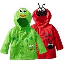 Плащ-дождевик для детей 2, 3, 4, 5, 6 лет, одежда для детей, милый водонепроницаемый дождевик с капюшоном и изображением зеленой лягушки и красной пчелы для девочек, ветрозащитный плащ для мальчиков