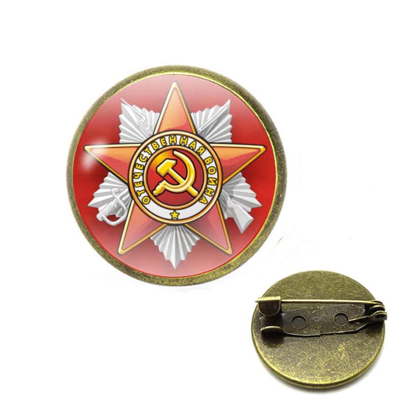 Uni Soviet Simbol Bros Bintang Merah Sabit Hammer Pin Perang Dingin Soviet Pro Kitty Bros Hadiah Ikon Lencana Kerah Pin untuk Mantel cap Perhiasan