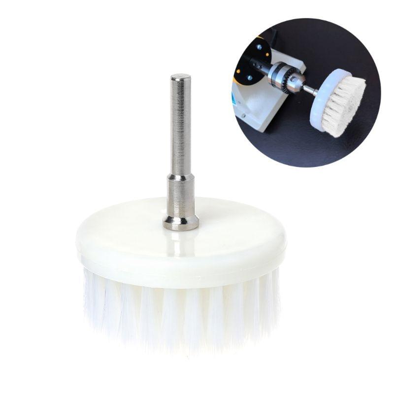 Белая мягкая щетка с дрелью, 60 мм, для чистки автомобильного ковра, ванной, ткани, новый стержень из нержавеющей стали 3 мм, 6 мм