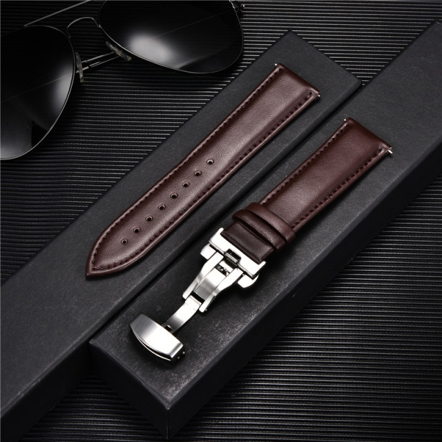 Smooth Calfskin Leather Watchband Butterfly Buckle 1