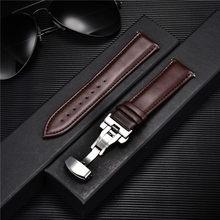 Pulseira de couro genuíno suave 18mm 20mm 22mm 24mm cintas com sólido borboleta automática fivela pulseira de relógio de negócios