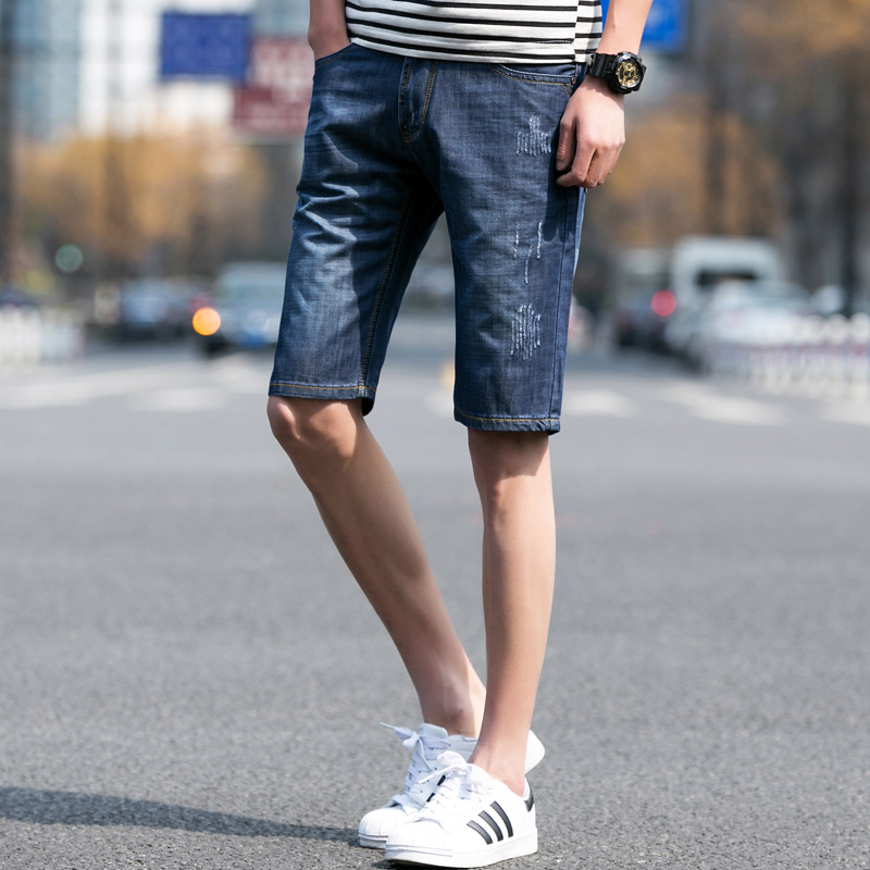 2018 New Summer Jeans Straight-Cut Fifth Pants Youth Men 5 Pants Young MEN'S Sports Bermuda Shorts