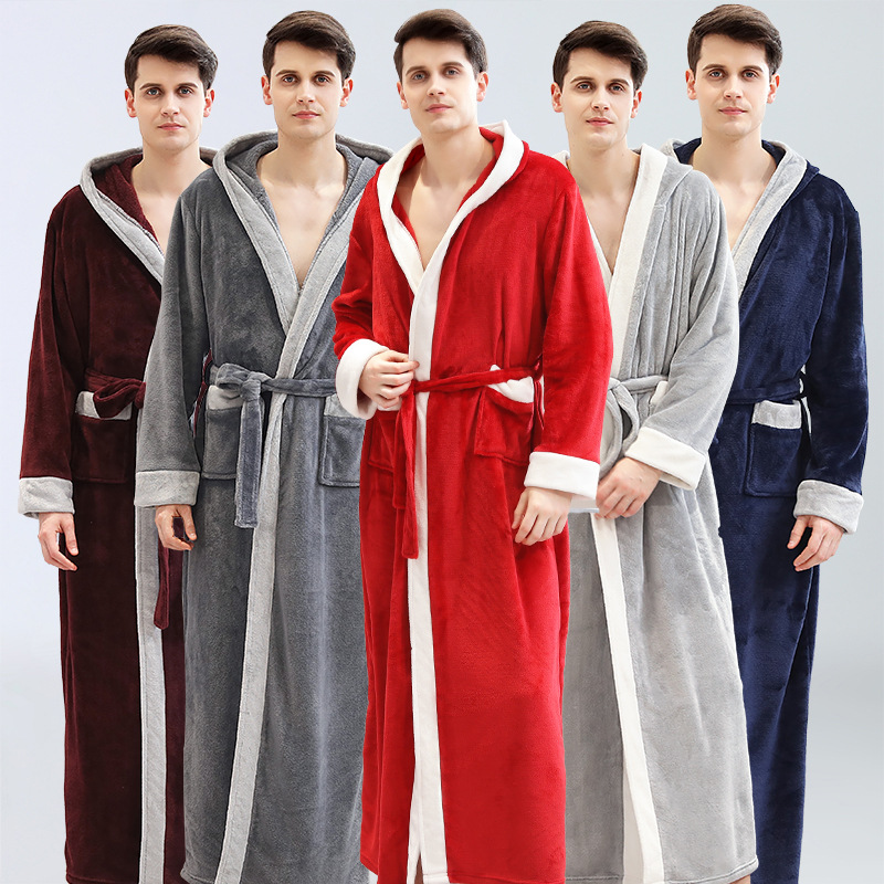 Men Winter Flannel Couple Long Warm Hooded Bathrobe Women/Men Sexy Plus Size Dressing Gown Bridesmaid Robes Sleepwear