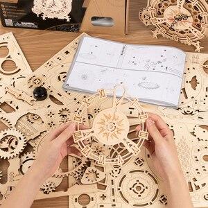 Robotime ROKR 3D Holz Puzzle Eule Uhr Modell Gebäude Kit Spielzeug für Kinder Kinder Jungen LK503
