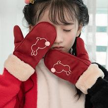 Dziecięce zimowe ciepłe rękawiczki dziecięce pełne palcowe rękawiczki dziecięce chłopięce dziewczęce bawełniane rękawiczki modne śliczne rękawiczki tanie tanio CN (pochodzenie) COTTON Cartoon Unisex XYW255 3-12 years old Lovely Cartoon Children Winter Warm Gloves Mittens Cotton Acrylic
