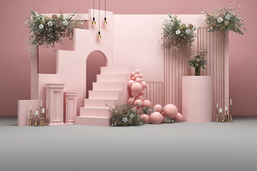 Laeacco Stair Step Flower Balloon Pink Wedding Photography Backgrounds Birthday Baby Shower Photo Backdrops For Photo Studio