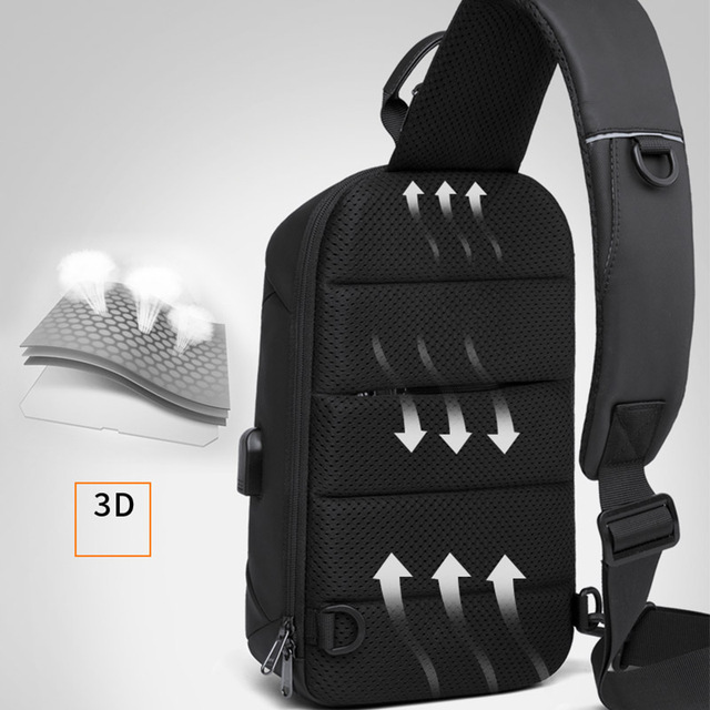 Bange Fashion Multifunction Crossbody Bags Men USB Recharging Chest Pack Short Trip Messenger Chest Bag Waterproof Shoulder Bag 1