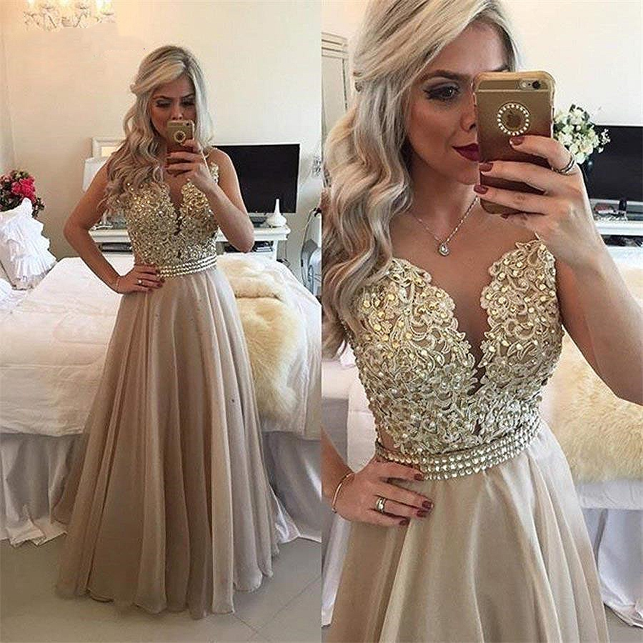 2020 New Chiffon Beaded Lace Applique Long Prom Dress Sheer Back Sleeveless Formal Gown O-Neck Floor Length Evening Dresses Plus