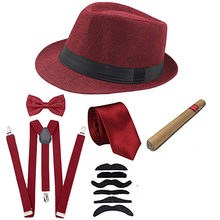 Костюм для косплея на Хэллоуин 1920-х, мужской Гэтсби, комплект аксессуаров-федора, шляпа газетчика, подтяжки, нарукавники, галстук-бабочка