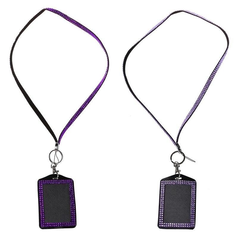 2 Pcs Rhinestone Bling Crystal Custom Lanyard Vertical ID Badge Holder (Dark Purple & Light Purple)