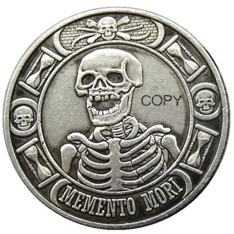 HB(128) الدولار الأمريكي المتشرد مورغان الجمجمة غيبوبة الهيكل العظمي الفضة مطلي نسخة عملات معدنية عملات غير رسمية  - AliExpress