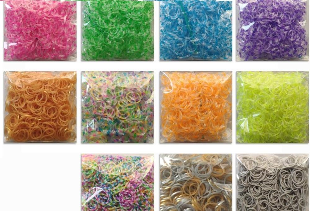 Loom Rubber Bands Bracelet For Kids Or Hair Rainbow Rubber Loom Bands Make Woven Bracelet DIY Toys Xmas 2019 Gift