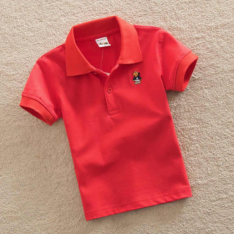 Jargazol 子供固体ポロシャツ夏半袖トップス男の子スポーツポロシャツ子供服漫画刺繍衣装