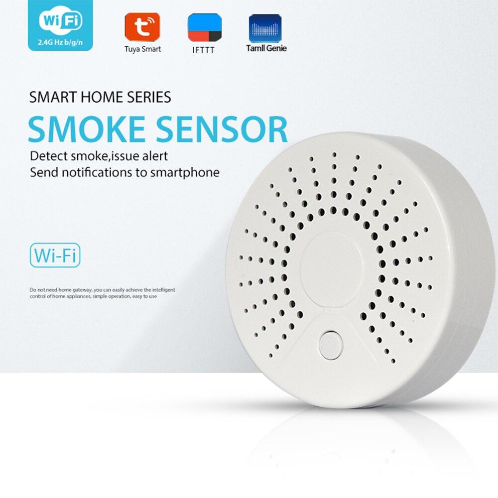 Wifi Smoke Detector Alarm Sensor Wireless Security Alarm System APP Remote Control Alerts IoT Device Tuya Smart Home