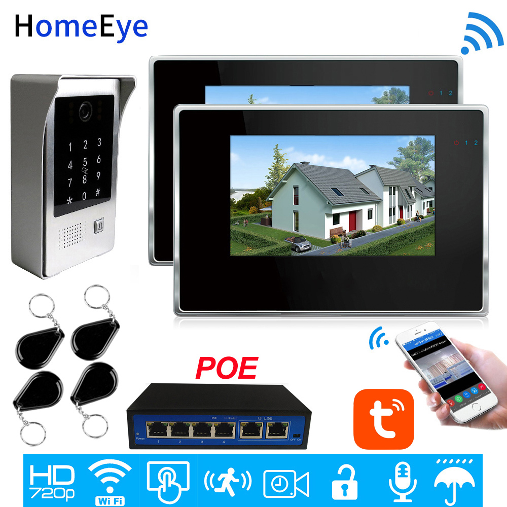 TuyaSmart APP IP Video Intercom POE System 720P Wifi Video Door Phone 7'' Touch Screen Password/IC Card Security Access Control