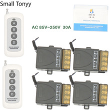 433 MHz wide range Remote Control AC 220V 30A 6600W 1CH High Power Relay Receiver for door/Light/LED/Fanner/Signal transmission цена 2017