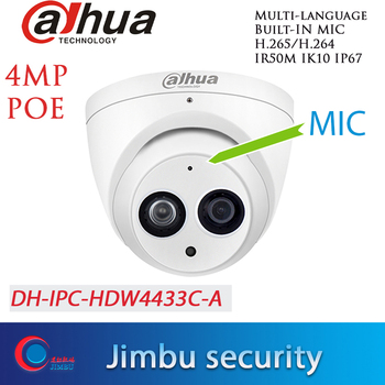 Dahua H.265 POE 4MP Security cameraIPC-HDW4433C-A Network IP Camera Built-in Mic onvif starlight - discount item  30% OFF Video Surveillance