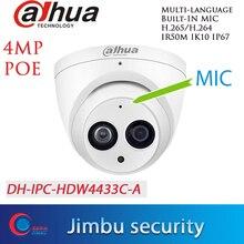 Dahua H.265 POE 4MP cameraIPC HDW4433C A de seguridad 4MP POE Cámara IP de red micrófono incorporado onvif Cámara starlight