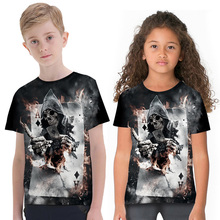 Children 3D T-Shirts Short Sleeve New Printed Boys Girls Casual T-shirt Skull Print Design Crew Neck Tops 3d flame bird print crew neck long sleeve t shirt