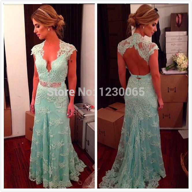 Vestidos De Festa Lace Blue Backless Deep V Neck Cap Sleeve Long Evening Prom Dresses Red Carpet Gown 2016 Free Shipping Belt