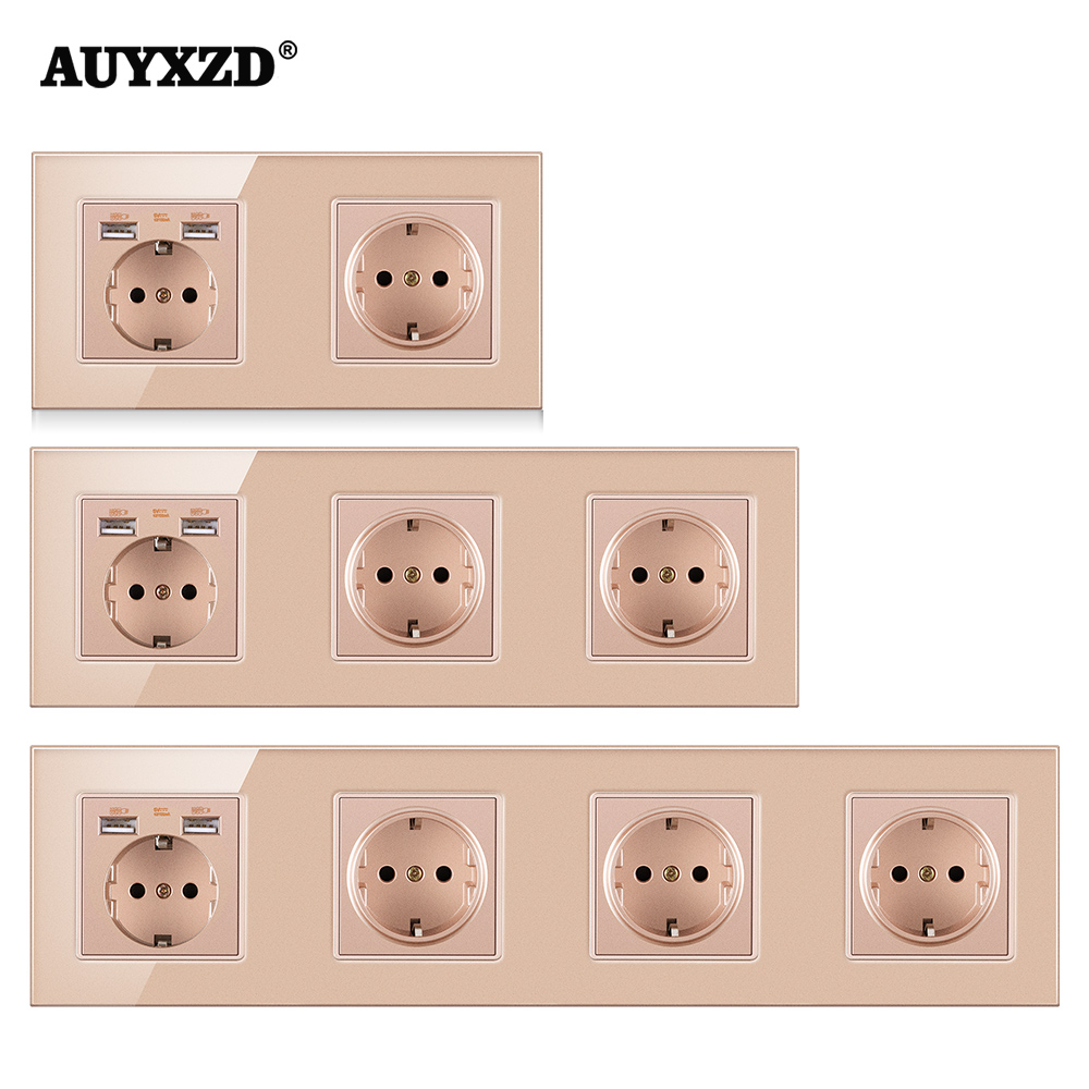 AUYXZD Power Socket 110-250V Plug Has Been Grounded Crystal Tempered Glass Panel German-Style 16A EU With USB Charging Port 2.1A