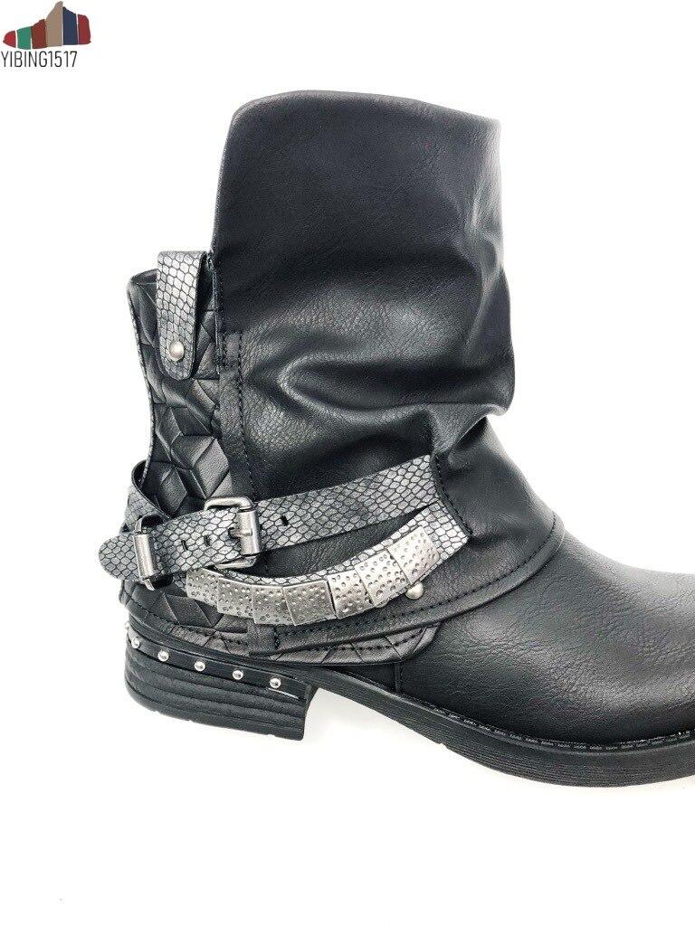 Hiver talons hauts bottines pour femmes Sexy Rivet boucle sangle femme chaussures Vintage bottes courtes dames Botines Mujer