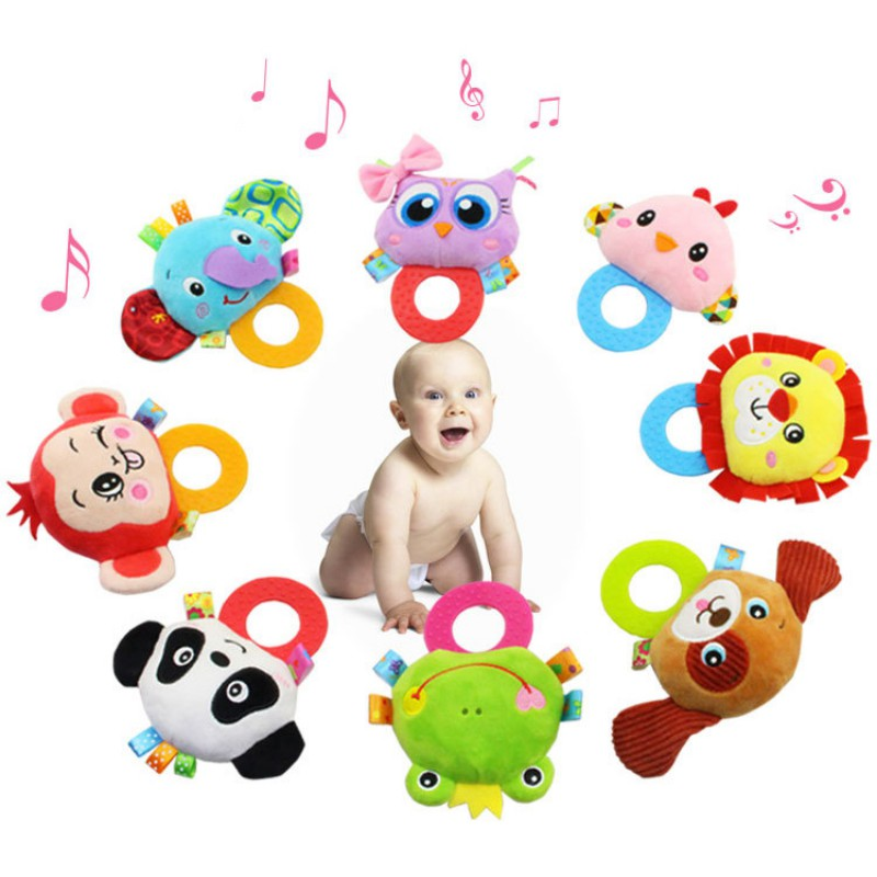 Bearoom Sets Baby Rattle 0-12 Toys Plush Toddler Rattle Hand Bebe Animal Mobiles Cute Bell Cartoon Baby Soft Oyuncak Months