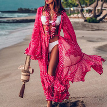Women Swimsuit Dress Beachwear Pareo Kaftan Cover-Up-Sleeve Robe-De-Plage High-Collar