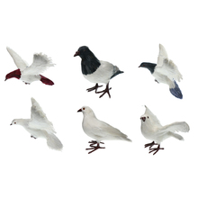 Artificial Feathered White Doves Standing & Flying Realistic Birds Statues Ornaments for Ho