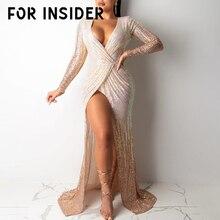 For Insider Sequin long party dress elegant Sexy v neck high split maxi winter dresses women Warp club christmas dress vestidos