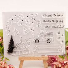11x15.5cm Christmas Tree House Car Gift Transparent Clear Stamps / Silicone Seals Roller Stamp DIY Scrapbooking Photo Album