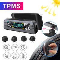 ¡Nuevo! TPMS energía Solar TPMS con alarma de presión de neumático de coche 360 Monitor ajustable Sistema de Seguridad automático presión de neumáticos advertencia de temperatura