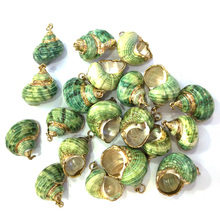 2019 New Shell Pendants 1pcs Green Conch Pendant Jewelry for Necklace or Bracelets DIY Accessories Wholesale 20x30-25x35mm