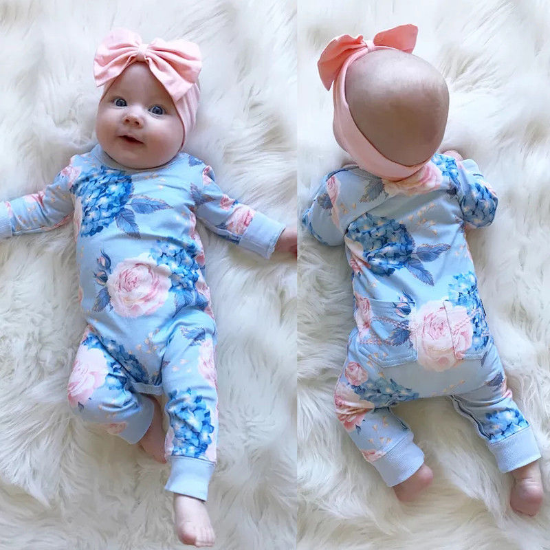 Pudcoco 2PCS Newborn Baby Girl Clothes Floral Long Sleeve Cotton Romper Jumpsuit Playsuit Headband Cute Kids Outfits Costume