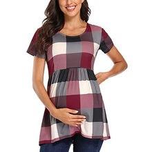Camiseta de maternidad para mujeres embarazadas, ropa de verano con cuello redondo de manga corta a cuadros, Tops con estampado de enfermería, ropa de maternidad